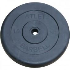 Диск обрезиненный Atlet 10 кг. 26 мм